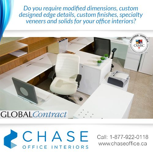 Chase Office Interiors manufactures custom workstations, tables, millwork and components for those spaces with specialized sizes and requirements. Please contact us for more information 1-877-922-0118