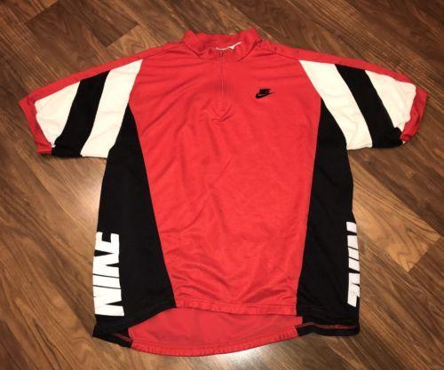Vtg 80s 90s NIKE Cycling Bike Jersey LARGE XL Gray Tag Jordan Athletic Top Shirt