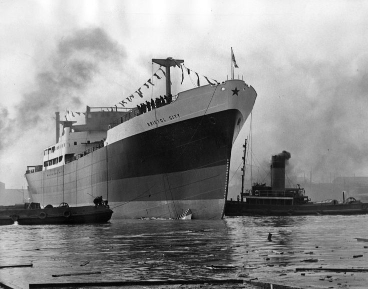 The 8,000 ton ship Bristol City after being launched from John Readhead and Sons Shipyard on the River Tyne at South Shields