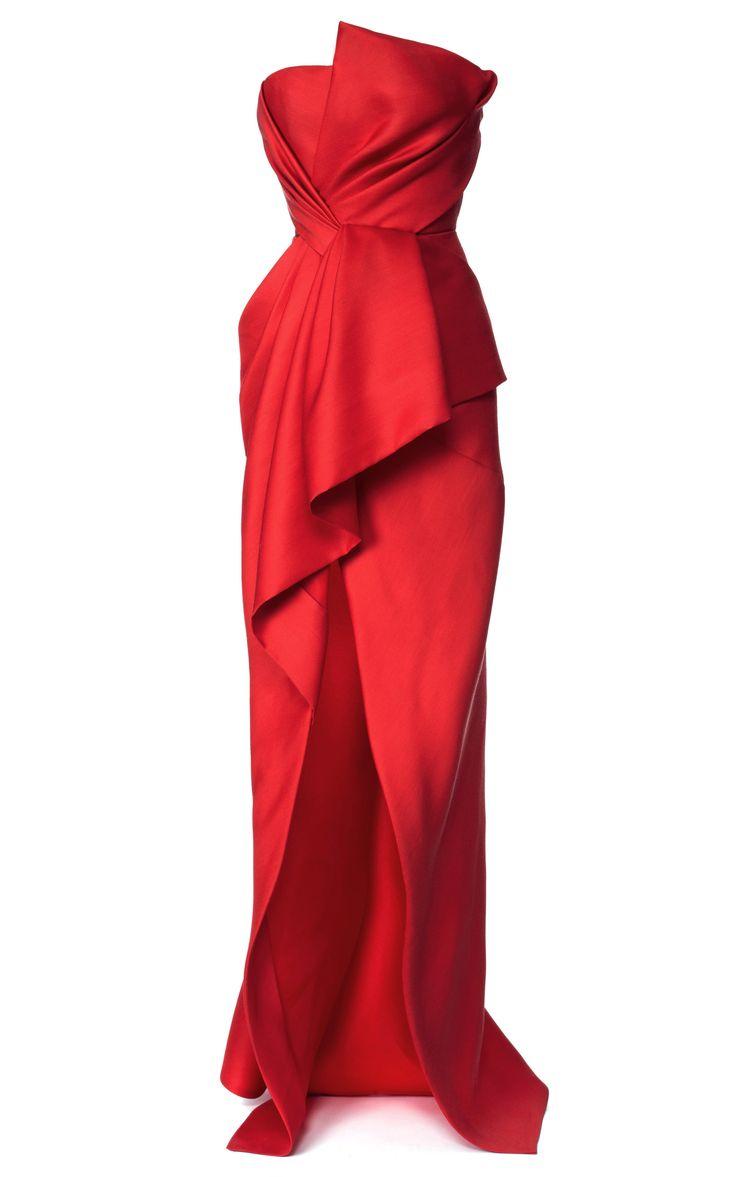 Silk And Wool Gazaar Strapless Bustier Gown by J. MENDEL for Preorder on Moda Operandi