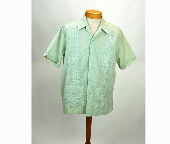 cuban guayabera shirt mexican wedding shirt by vintagerunway
