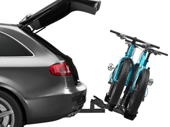 Hitch-mounted bike rack for your car or SUV so you can head to the trails or open road with your mountain bikes or road bikes for a little mountain biking or road cycling fun! This is a Thule T2 Classic 9044 bike rack.