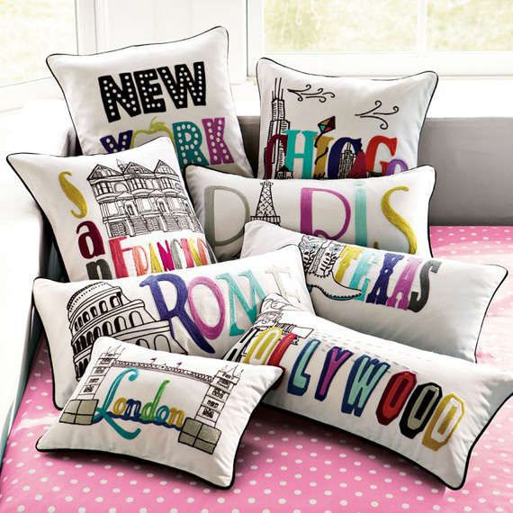 Darling Destination Pillows - These PB Teen Pillow Cases are Internationally Adorable (GALLERY)