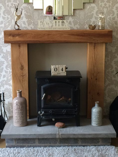 Fire Place Solid French Oak Beam Surround, Mantle Shelf ...