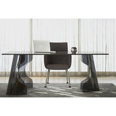 "Wade Logan Lesly 44"" Void Crackled Glass Dining Table"