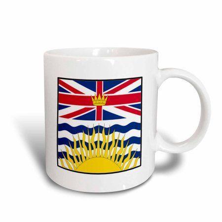 3dRose Photo Of Canada British Columbia Flag Button, Ceramic Mug, 11-ounce