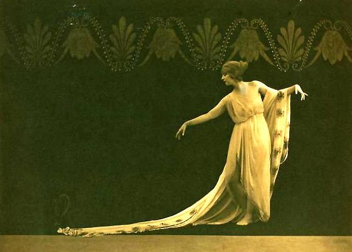 """Ruth St. Denis, (1879-1968) American dancer and choreographer. Considered the grandmother of the Dances Of Universal Peace, was one of two women credited with founding Modern Dance in America, the other being Isadora Duncan. Their approaches to dance differed in that Duncan sought """"the Self in the Universe"""" while St. Denis sought """"the Universe in the Self."""""""