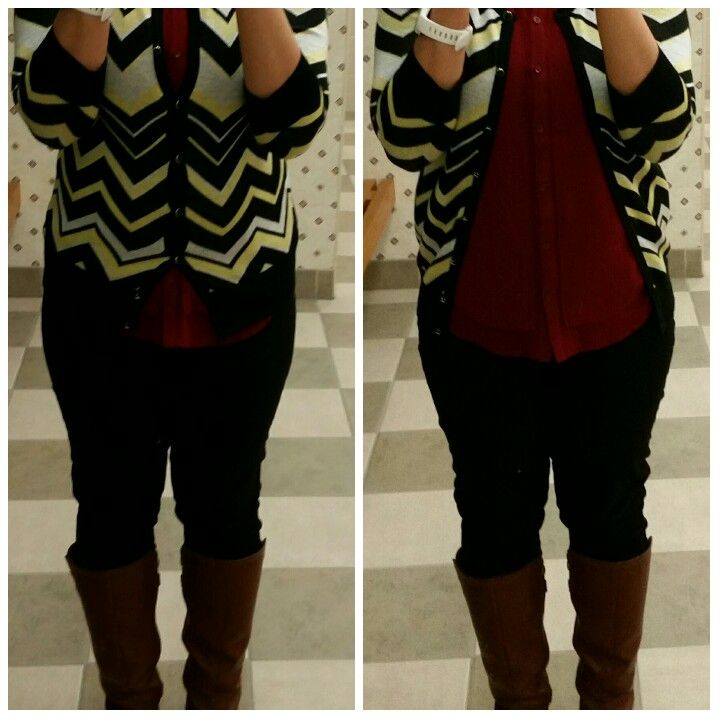 Yellow striped cardigan , maroon blouse , black jeans , brown boots #yellowstriped