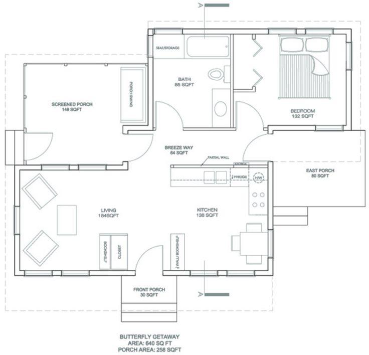 Modern Style House Plan   1 Beds 1 Baths 640 Sq/Ft Plan #486