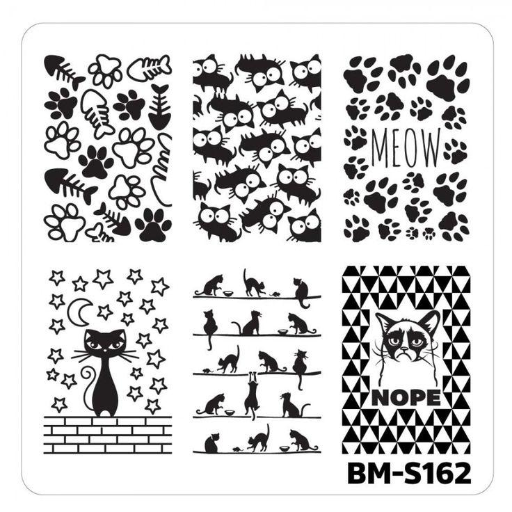 Nail Art Stamping Plates - Fuzzy and Ferocious: BM-S162, Feline Lover  gotta…