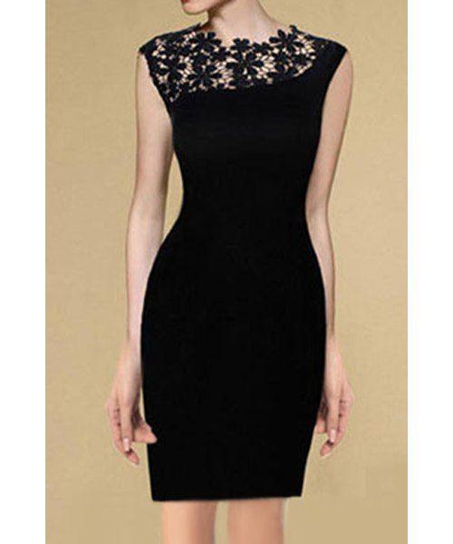 Frauen-Trends> Kleider> Abendkleider> eleganter runder Ansatz-Spitze Spleißen ärmellose schwarze Kleid für Frauen