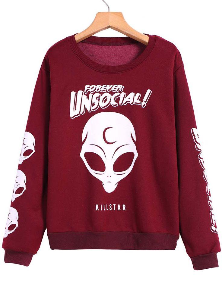 Red Long Sleeve Skull Print Sweatshirt 13.67