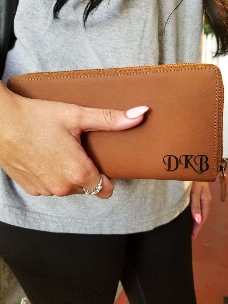 Ladies Clutch, Long Wallet, Personalized Laser Engraved