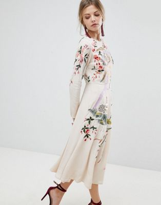 ASOS Midi Dress with Pretty Floral and Bird Embroidery