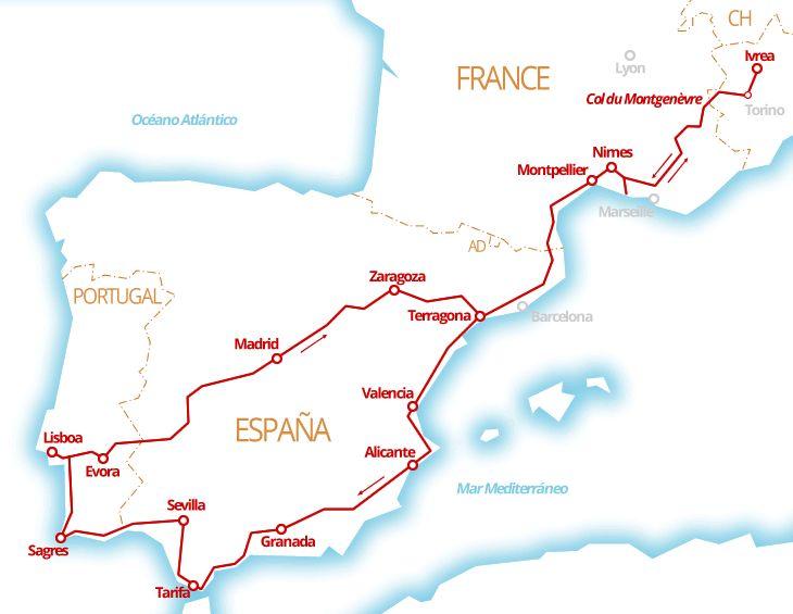 Il percorso del nostro viaggio in Portogallo e Spagna in camper: Valencia, Andal…