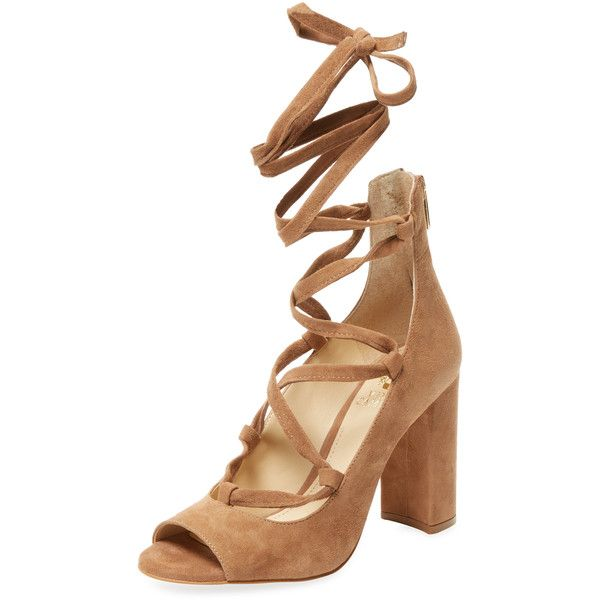 Vince Camuto Women's Tannen Lace-Up Pump - Medium Brown, Size 10 ($69) ❤ liked on Polyvore featuring shoes, pumps, medium brown, brown peep toe pumps, peep-toe pumps, leather pumps, brown pumps and peep toe pumps