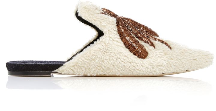 Sanayi 313 Ragno Embroidered Shearling Slippers
