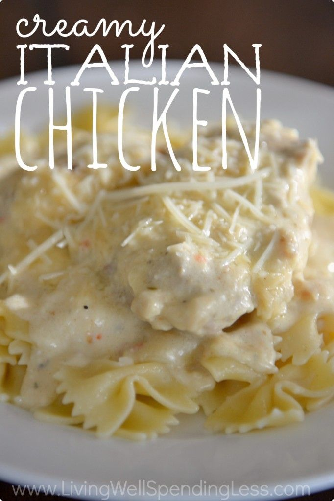 Creamy Italian Chicken  Summary: This slow cooker friendly recipe uses pantry staples to create an amazing chicken dinner!