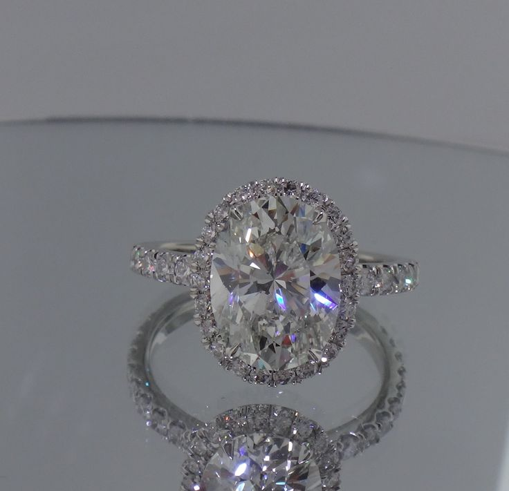 Josh Levkoff - Collection, Rings - Oval Cut Engagement Ring with Halo & MicroPave Diamonds On Band | Josh Levkoff