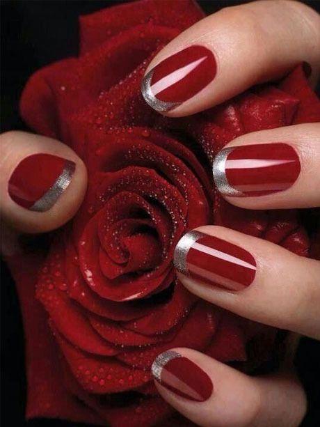 Rouge passion et argent / vernis de fête