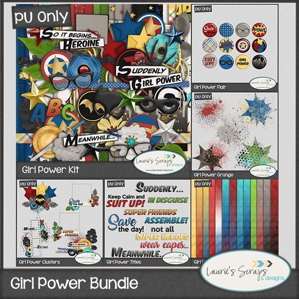 Girl Power Digital Scrapbook Bundle. Perfect for those Super Heroines in your life!!