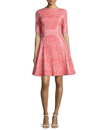 Half-Sleeve Fit-&-Flare Dress, Red by Lela Rose at Neiman Marcus.