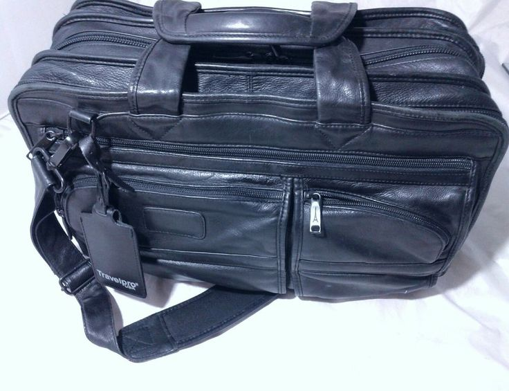 Travelpro USA Executive Leather Briefcase Triple Gusset Black Leather MSRP $398 | Clothing, Shoes & Accessories, Men's Accessories, Backpacks, Bags & Briefcases | eBay!