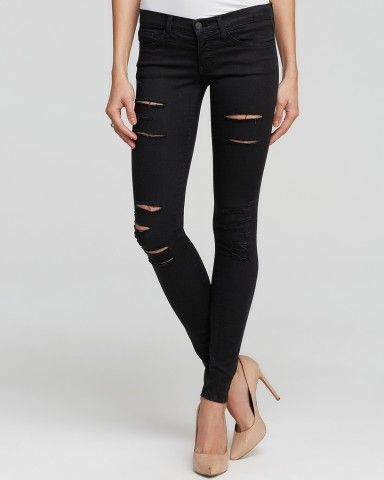 Flying Monkey Jeans - Distressed Skinny in Black | Bloomingdale's