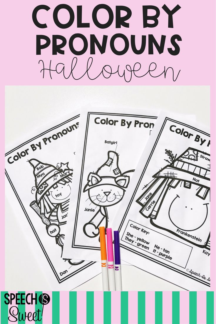 Halloween art therapy coloring pages - Color By Pronouns Halloween Edition