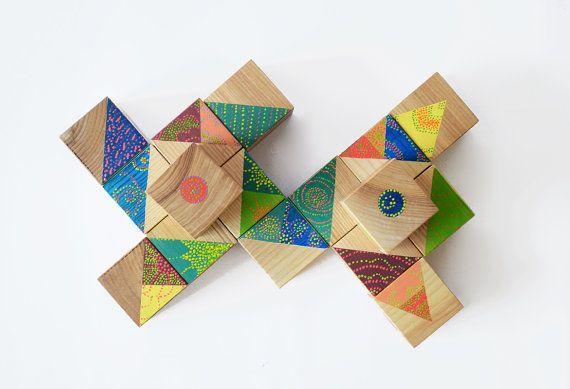 Hippie style set of wooden blocks / Handmade / Bohemian by Lapalai