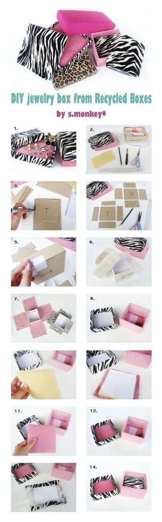 DIY Jewelry Box From recycle box.  Enjoy your day. ;)