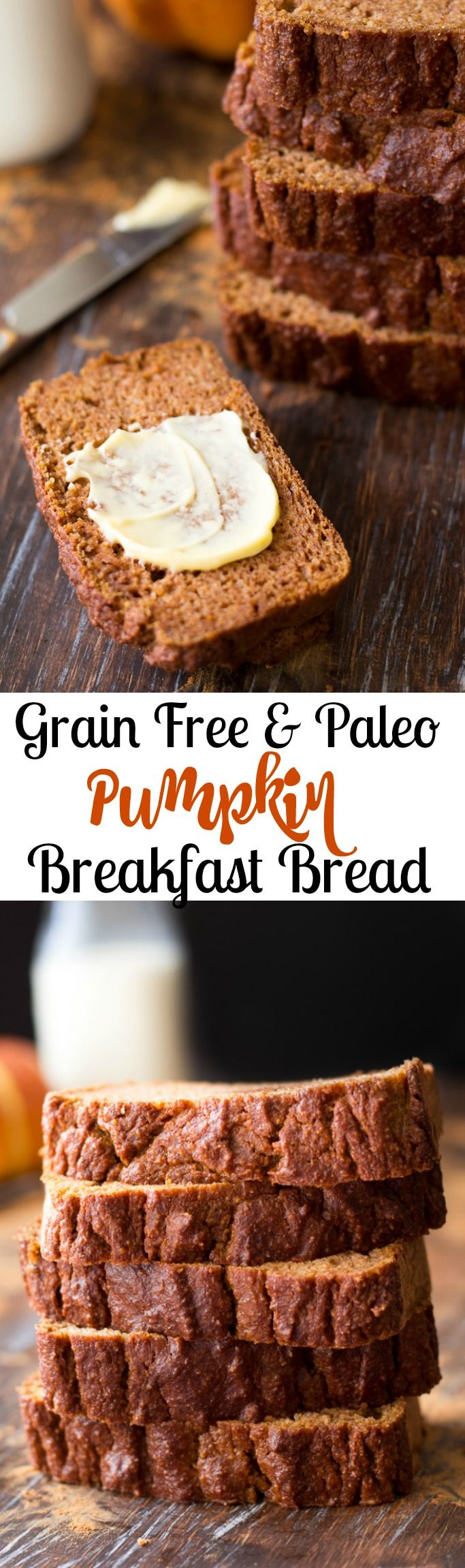 simple grain free and paleo pumpkin bread great for breakfast! Gluten free, grain free, dairy free tender yet hearty and healthy Paleo pumpkin bread loaded with sweet pumpkin spice!