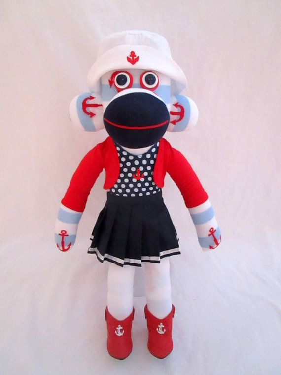 Olivia the Nautical Sock Monkey by ShowMeTheMonkeys on Etsy #KellysSockMonkeyMania