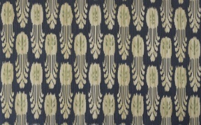 Ikat is created using a resist dyeing process similar to tie-dyewhere the warp and/or the weft yarns are dyed before the fabric iswoven on the loom. The result is a motif that is blurred inappearance. This cloudy look comes from the slight bleeding of thedyes into the resist areas.
