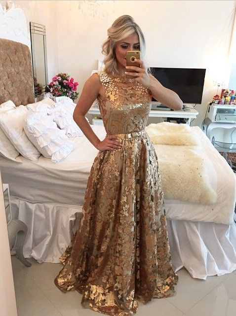 Buy Simple-dress Luxurious A-line Gold Sequins Long 2015 Prom Dresses/Evening Dresses Party Dresses TUPD-70778 2016 Prom Dresses under US$ 194.99 only in SimpleDress.