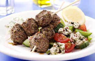 Lamb Souvlaki with Greek Salad & Tzatziki | GREEK - OPA!!! | Pinterest