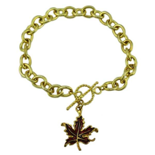 PRL341BB-Gold Maple Leaf Charm Bracelet