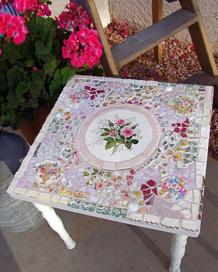 Mosaic Shabby Small Side Table with Vintage China.