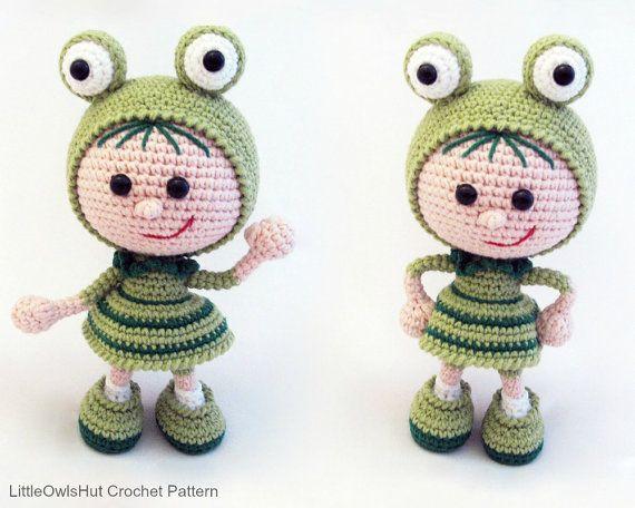 118 Crochet Pattern - Girl doll in a frog outfit - Amigurumi PDF file by Stelmakhova Etsy