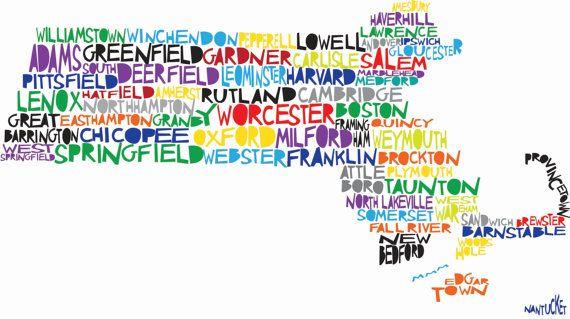 MASSACHUSETTS Digital illustration Print of Massachusetts State with Cities Listed