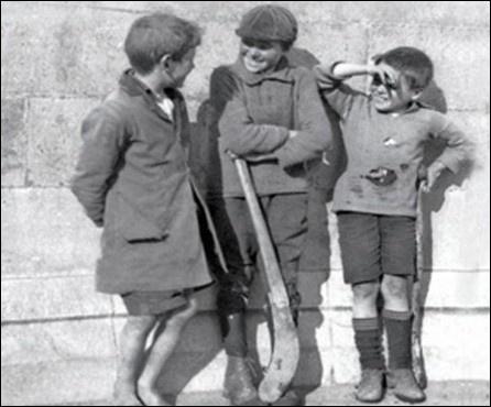 Irish Kids and their hurling sticks