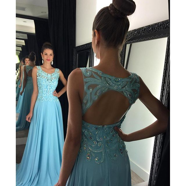 Long Prom Dresses 2016 Scoop Sleeveless Backless Sweep