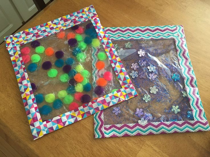 Freezer bags filled with hair gel and  whatever sealed with patterned duct tape. Excellent idea.