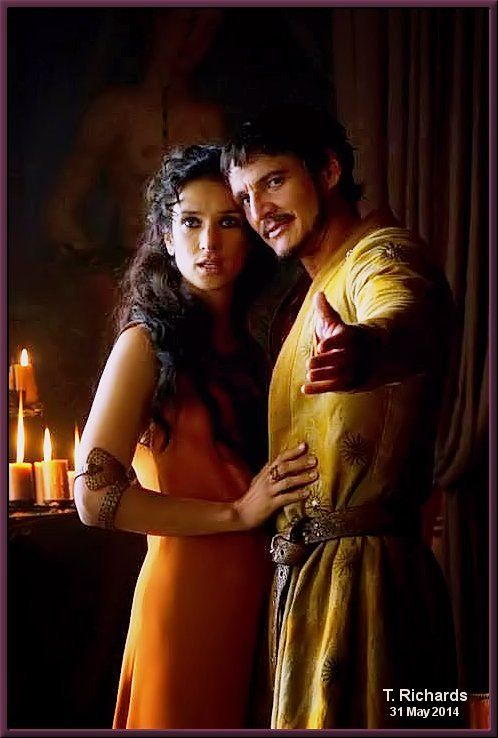 Indira Varma as Ellaria Sand and Pedro Pascal as Prince Oberyn Martell in Game of Thrones Season 4