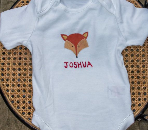 Personalised fox babysuit by Meadowridgedesigns on Etsy