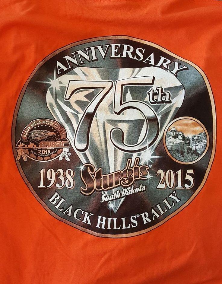 Sturgis 2015 Black Hills Rally Motorcycles T-Shirt Orange  XL NWT 75th Annivers. #Gildan #GraphicTee