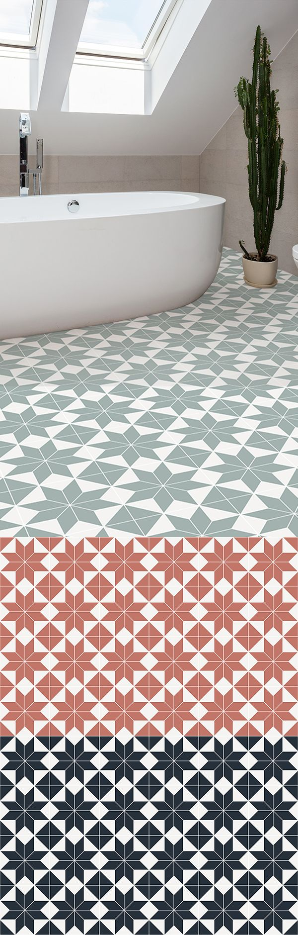 Brittany is a Victorian Tile Effect Vinyl Flooring design that is available in Navy, Orange and Light Green. The chunky geometric tile pattern of this design makes for a modern take on classic Victorian tiles, resulting in a perfect flooring option for contemporary and traditional home styles. #vinyl #flooring #inspiration #design #decor #home #homedecor #interior #interiordesign #Ihavethisthingwithfloors #tiles #tiledvinyl