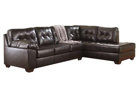 Best Alliston Chocolate 2 Piece Sectional W Raf Chaise 400 x 300