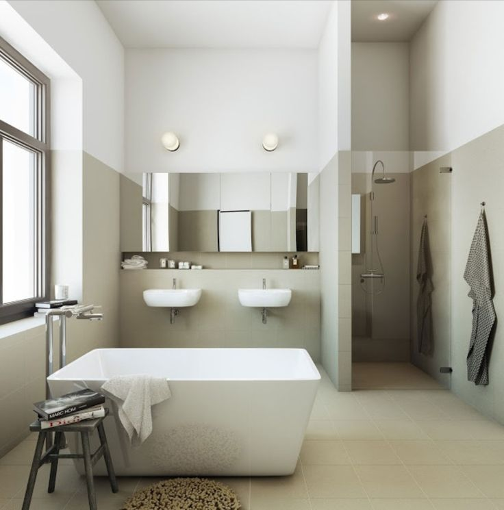 Get inspired... byCOCOON.com for Contemporary Minimalist Modern Luxury Design Bathrooms around the Globe. Modern bathroom with freestanding solid surface bathtub and #Inox #StainlessSteel bath fittings. Bathroom design & renovation for businesses, hotels and private clients byCOCOON.com / Badkamer ontwerp & verbouwing byCOCOON.nl met #RVS en vrijstaand bad.