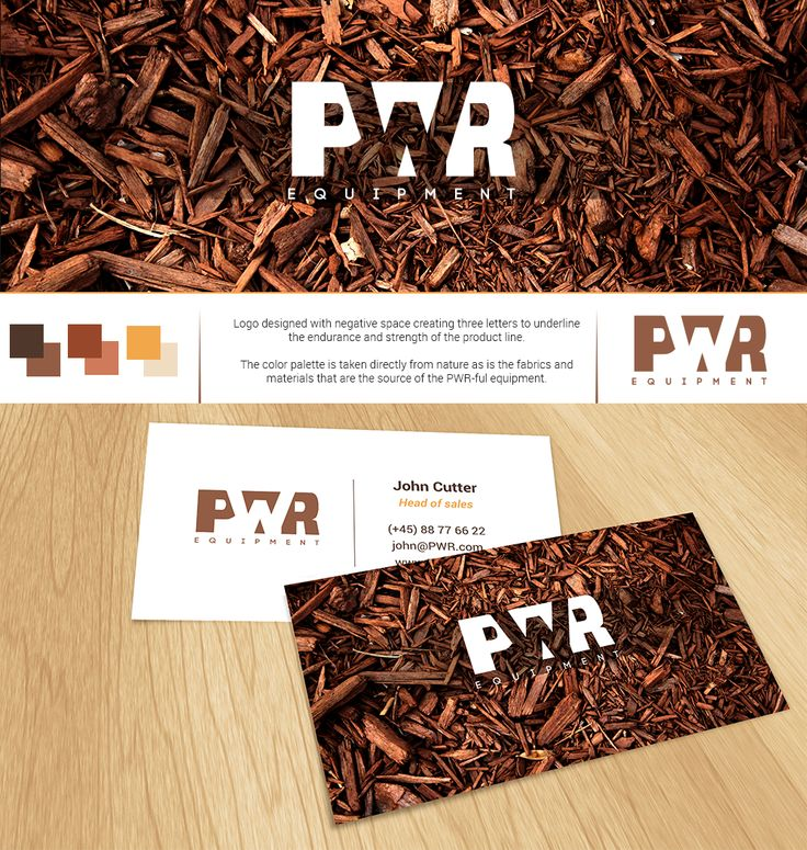 PWR equipment #logo and #businesscard design with #wood #texture and #negativespace | #brandrocket